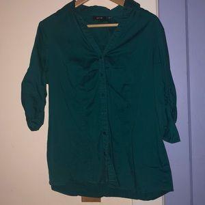 Turquoise Buttondown 3/4 Sleeve Blouse